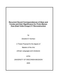 Recurrent Sound Correspondences of Akan and Yoruba and their Significance for Proto-Benue-Kwa (East Volta-Congo) C1 Reconstruction